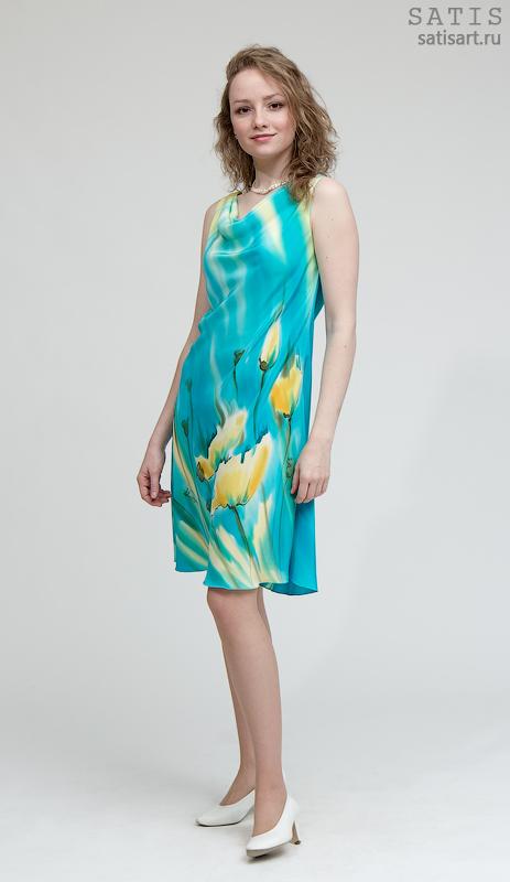 Ручная работа Платье шелковое длинное зеленое Платье из натурального шелка летнее