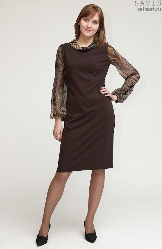 Платье трикотажные с шифоновым рукавом